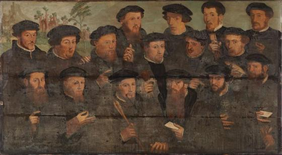 Badly abraided and overpainted 16th century civic guards portrait, painter unknown, Schutters van een Rot voetboogschutters , oil on panel, 112x204 cm, Amsterdam Museum