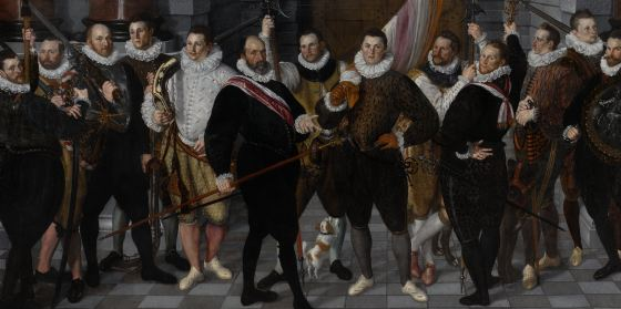 Cornelis Ketel, Civic Guards Company of Captain Dirck Jacobsz Rosecrans en Lieutenant Pauw (1588), oil on canvas,  208x410 cm, Rijksmuseum. The men on the extreme right and left are only partially shown, a sign that the painting was cropped
