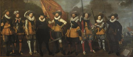 Nicolaes Lastman and Adriaen van Nieuland, Civic guards company under Captain Abraham Boom and Lieutenant Oetgens van Waveren, 1623, oil on canvas, 245x572 cm, Amsterdam Museum
