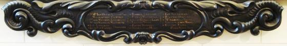 Name plate (after 1683) for Govaert Flinck's 1648 civic guards portrait, wood, black varnish, gilding, 44x274x17 cm, Amsterdam Museum