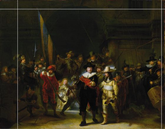 "Copy of Rembrandt's ""Night Watch"" showing the 1715 cropping"