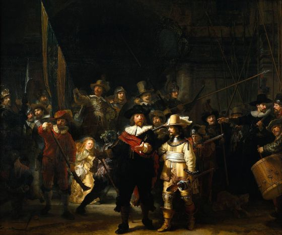 "Rembrandt, ""Night Watch"", 1642, oil on canvas, today measuring 379.5x453.5 m, Rijksmuseum"