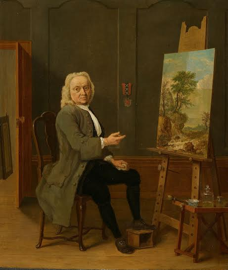 Jan van Dyk portrayed by  Jan ten Compe in 1754, oil on panel, 35.5x30.5 cm, Amsterdam Museum